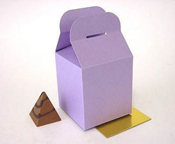 Cubebox handle middle 100x100x100mm lilatwist with goldcarton