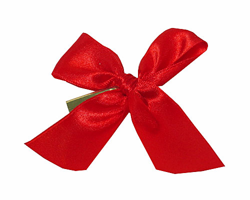 Bow ready made No 306 double face satin 25mm clipband 60mm red
