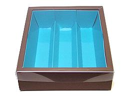 Macaron box 3 row brown blue Kreta