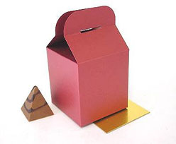 Cubebox handle small 75x75x75mm framboise with goldcarton