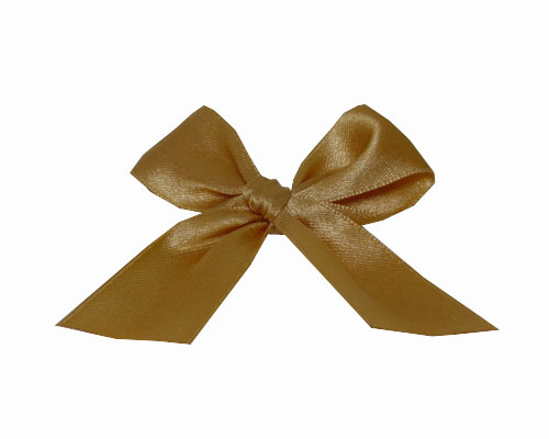 Bow ready made No 703 double face satin 25mm clipband 60mm gold