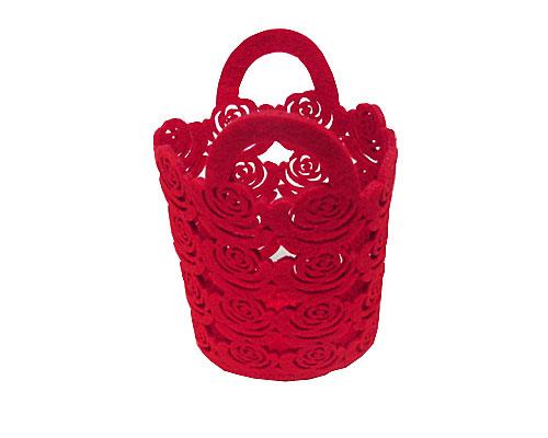 Felt flower roses basket red