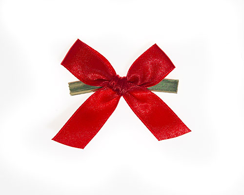 Bow ready made No 306 double face satin 15mm clipband 60mm red