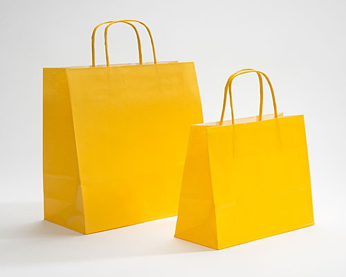 Paper bag curled handle L180xW80xH220mm yellow