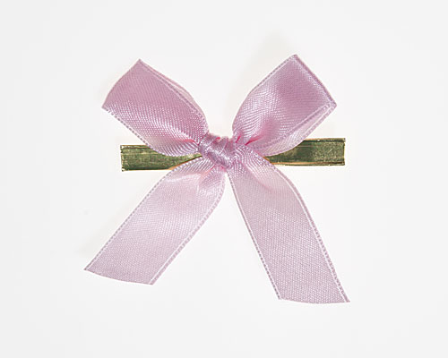 Bow ready made No 302 double face satin 15mm clipband 60mm pastel pink