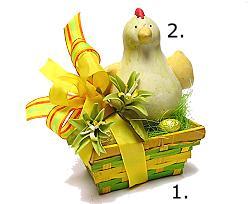 2. Chicken ceramic, green yellow orange red