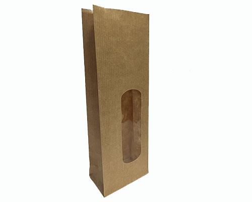 Blockbag with window kraft brown 70x40x200mm