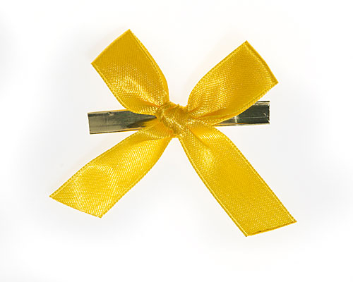 Bow ready made No 007 double face satin 15mm clipband 60mm yellow