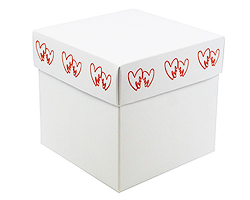 Cubebox Double Hearts 100x100x95mm white/red
