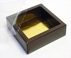 Windowbox 126x126x24mm chocolat laque