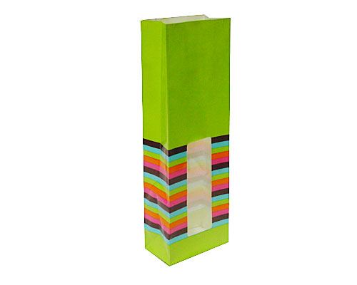 Bag with stripes L85xW50xH240mm green