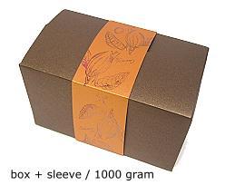 ballotin 1000 gr cacao bronztwist, sleeve in coppertin