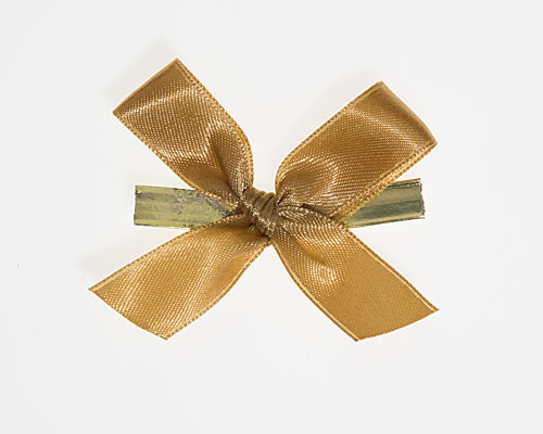Bow ready made No 703 double face satin 15mm clipband 60mm gold