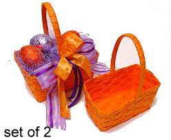 Basket Ribboncane Set2 Orange