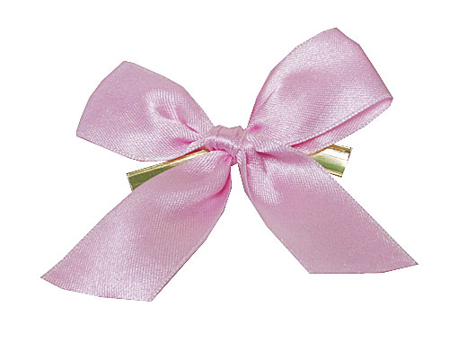 Bow ready made No 302 double face satin 25mm clipband 60mm pastel pink
