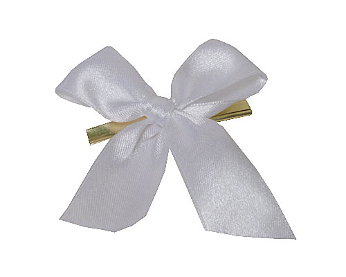 Bow ready made No 000 double face satin 25mm clipband 60mm white